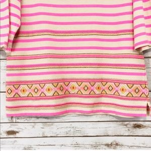 *J. Crew Stitchwork Neon Pink Stripe Top Sz L